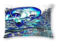 DECORATIVE THROW PILLOW 14 x14 Huge Wave & Surf Art. Ocean art, Abstract Surfer Wave.