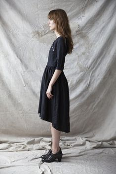 Iris Dress - Black Linen | Ovate