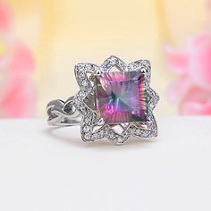 Sterling Silver CZ, Rainbow Mystic Topaz Ring