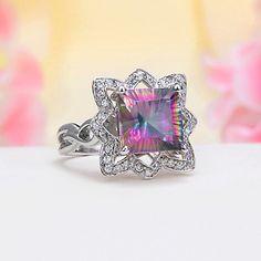 Sterling Silver CZ, Rainbow Mystic Topaz Ring
