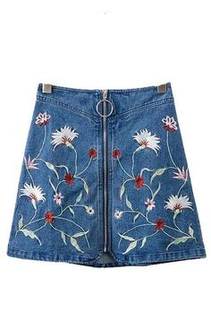 Trendy-Road-Style-Shop-Online-Woman-Fashion-Street-skirt-embroidery-floral-denim