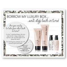 Mary Kay Borrow my Luxury Box for the TimeWise Miracle Set!! A great way to build skin care customers! Find it only on www.thepinkbubble.co!