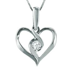 """Sirena diamond pendant, one tenth carat total weight set into 10K White gold pendant along with an 18"""" chain.   Rogers Jewelry Co."""