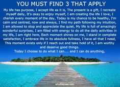 DO IT!!! NOT LATER!!! NOW!!!! Why? because you're worth it. addictioninthefamily.com Cherish Every Moment, In This Moment, Its Okay, Thats Not My, You Must, Positive Affirmations, My Life, How To Apply, Positivity