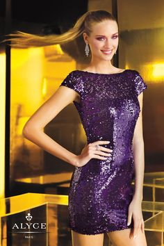 Homecoming Dresses - Alyce Paris Homecoming 4348 Short Sleeve Sequined