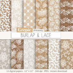 """Burlap digital paper: """"BURLAP & LACE"""" burlap textures, lace backgrounds, burlap…"""