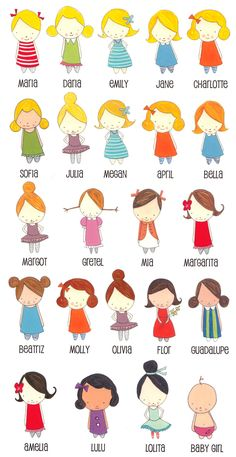 Little girls -ideas for applique or embroidery. Sewing Appliques, Applique Patterns, Embroidery Applique, Doll Patterns, Fabric Dolls, Paper Dolls, Clothespin Dolls, Felt Dolls, Felt Crafts