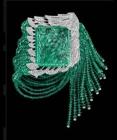 Bracelet with 77.3-carat carved emerald, emerald beads and diamonds  Cartier, ca. 1950s
