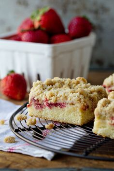 Strawberry Rhubarb Crumb Cake via My Baking Addiction #recipe