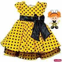 Vestido Abelinha Poa Festa Infantil Luxo Com Faixa