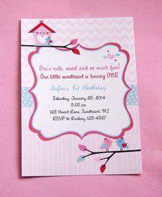 NEW Valentine Birthday Invitations Pink Red and by lindsayisartsy, $16.20