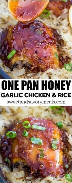 One Pan Honey Garlic Chicken and Rice is such a delicious and easy dish to make. Sweet and savory tender chicken baked with flavorful rice. chicken dinner One Pan Honey Garlic Chicken and Rice [Video] - Sweet and Savory Meals Garlic Chicken And Rice Recipe, Honey Soy Chicken, Chicken Bake Recipes, Chicken Flavored Rice, Chicken And Rice Dishes, Chicken And Brown Rice, Orange Chicken, Chicken Meals, Boneless Chicken