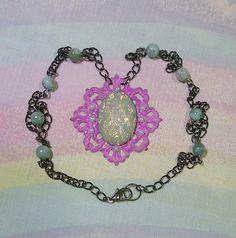 ♥ gothic lolita necklace, pastel goth necklace, steampunk necklace, victorian jewelry, goth necklace, gothic lolita jewelry, agate necklace, crystal jewelry ♥  https://www.etsy.com/shop/starlightsparkles