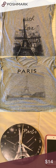 Everything Paris Set NWOT two grey t-shirts from JC Penney, loose fit cotton size L, mini Paris wall clock, (next to iPod for size comparison) and 3 Eiffel Tower keychains, message me if you'd like to purchase things separately jcpenney Other