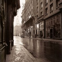 Calle del Arenal on a rainy day. At the back, the clock of Puerta del Sol, Madrid, Spain Madrid City, Foto Madrid, Barcelona City, Old Photography, Street Photography, Best Hotels In Madrid, Madrid Travel, Like Image, Majorca