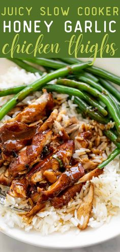 Juicy Slow Cooker Honey Garlic Chicken Thighs—the best slow cooker chicken recipe out there! There's nothing better than an easy dinner recipe that comes out hot and ready when you get home from work. These honey garlic chicken thighs are so juicy and packed with flavor and protein! The whole family will love this healthy meal! #chicken #chickenrecipes #healthyrecipes #slowcookerrecipes Slow Cooker Pressure Cooker, Best Slow Cooker, Slow Cooker Chicken, Slow Cooker Recipes, Crockpot Recipes, Slower Cooker, Cooking Recipes, Chicken Meals, Slow Cooking