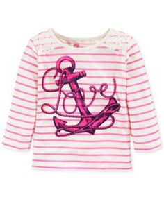 NEW EPIC THREADS GIRLS LACE-TRIM GRAPHIC LONG SLEEVE TEE STRIPE PINK  SIZE LARGE #EPICTHREADS #Everyday