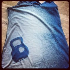DIY Kettlebell bleach-sprayed tank top