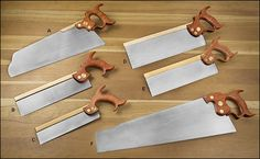 Premium Backsaws from Wenzloff & Sons from Lee Valley Tools (Half-Back Saw, Carcass Saw, Rip Dovetail Saw, Small Tenon Saw).