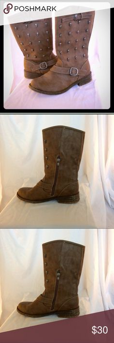 Size 7 biker motto gothic brown faux leather boots Perfect for someone who's style is a little edgy! Heels are slightly worn (pic included). There is a very soft, warm lining inside the boots making them perfect for the upcoming fall season! Both buckles are adjustable. Shoes Combat & Moto Boots