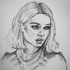 how to draw Portrait Sketches, Art Drawings Sketches, Portrait Art, Cool Drawings, Beauty Illustration, Arte Sketchbook, Sketch Painting, Drawing People, Love Art