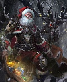 Check out these awesome Santa pix I found on @doom.world's page!  Badass Santa and armoured reindeer!  Art by @RedPencilCreations  #SantaClaus #Santa #Christmas #MerryChristmas #Christmas2015 #StNick #KrisKringle #reindeer #Rudolph #RudolphTheRedNosedReindeer #armor #cigar #FatherChristmas