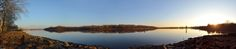 Panorama of the Delaware River, Burlington Island, NJ; the Historic Burlington Riverfront; Bristol's Historic Waterfront and Basin, taken from Basin Park.