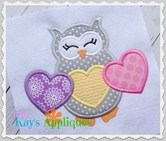 3 Heart Owl Applique - 4 Sizes! | What's New | Machine Embroidery Designs | SWAKembroidery.com