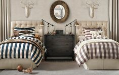 neutral Boys room with twin beds. Restoration hardware by sophia
