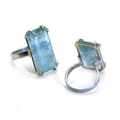 """Aquamarine Lift Ring in palladium, 14k gold, and 44.6 carat aquamarine. Aquamarine is approx. 1"""" x 0.5"""" Size 6.5 (may be sized to fit)"""