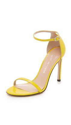 Stuart Weitzman Nudistsong Sandals In Sun Wedding Guest Outfit Inspiration, Flats, Shoes Sandals, Stuart Weitzman Sandals, Yellow Shoes, Pumps, Killer Heels, Designer Sandals, Designing Women