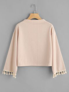 SheIn offers Drop Shoulder Fringe Trim Sweatshirt & more to fit your fashionable needs. Girls Fashion Clothes, Teen Fashion Outfits, Girl Fashion, Stylish Dresses For Girls, Stylish Dress Designs, Cute Casual Outfits, Stylish Outfits, Mode Grunge, Kawaii Clothes