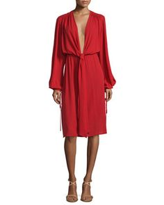 Long-Sleeve+Plunging-V-Neck+Dress,+Crimson+by+Michael+Kors+Collection+at+Neiman+Marcus+Last+Call.