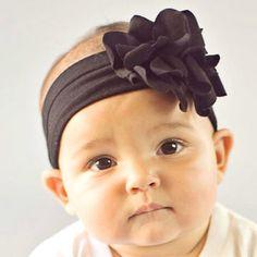 nylon soft black baby headband