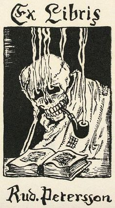 Unidentified Artist. Smoking Skull. Ex Libris for Rudoph Peterson. Woodcut. 3-1/4 x 2-1/8 inches.