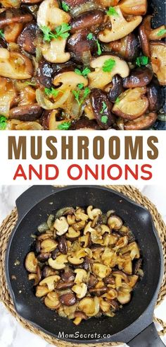 These Garlic Butter Mushrooms with onions are the PERFECT versatile keto side dish for steak, burgers, chicken or pork! They're ready in just 20 minutes!! #mushrooms #ketosidedish Best Sauteed Mushrooms, How To Cook Mushrooms, Mushroom And Onions, Stuffed Mushrooms, Stuffed Peppers, Quick Easy Healthy Meals, Good Healthy Recipes, Easy Meals, Steak Side Dishes