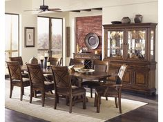 Legacy Classic Larkspur Trestle Table & Upholstered Chair Set - Mueller Furniture - Dining 7 (or more) Piece Sets