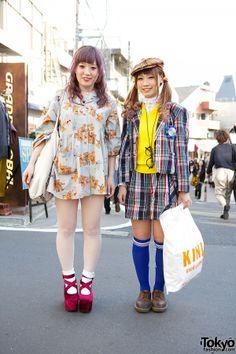 Plaid & Teddy Bear Print w/ Kinji Resale & Pink Hair in Harajuku   it's them -> http://blog.crooz.jp/nyyym & http://blog.crooz.jp/aknxxx76