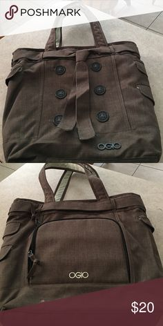 OGGIO laptop tote bag. This is a beautiful taupe colored laptop bag/ has sleeve for tablet  oggio smartly designs their bags with tons of compartments.   Has a small pink dot on the bag of bag see 2nd pic.  I no longer subscribe to corporate life so I am happy to sell this!!!!  Used 2x for travel. oggio Bags Laptop Bags