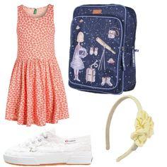 Outfit da indossare per passare un pomeriggio a casa di un amica per finire i compiti delle vacanze...composto da abito fantasia color albicocca, superga macramè bianche, cerchietto per capelli e zainetto blu.