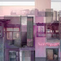 """Mania Efstathiou, """"Back Alley View"""", digital collage printed on plexiglas Digital Collage, Solitude, Plexus Products, Wax, Prints, Movie Posters, Painting, Film Poster, Painting Art"""