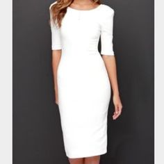 Lulu's white pencil dress Worn once! Form fitting, fun white pencil dress from Lulu's. Size Small. Lulu's Dresses Midi