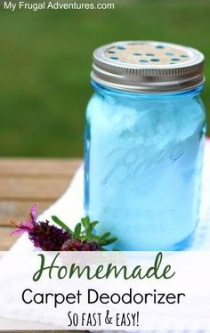 The best and easiest homemade carpet deodorizer. ~ See more about baking soda, mason jars and carpets.