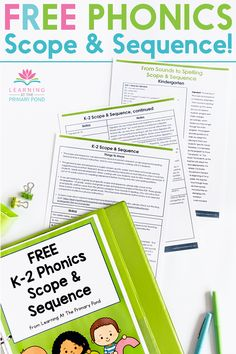 Many teachers wonder what the best order is for phonics instruction, but this free scope and sequence from Learning At The Primary Pond can help! This phonics instruction sequence includes research-based information on effective phonics instruction, plus year-long, grade-level-specific phonics instruction sequences for kindergarten, first grade, and second grade. For a teacher-friendly, multi-sensory phonics program for kindergarten, 1st grade, or 2nd grade, check out From Sounds To… Phonics Lessons, Teaching Phonics, Teaching Writing, First Grade Science, Second Grade Math, Kindergarten Learning, Learning To Write, Phonemic Awareness Activities, Phonics Programs