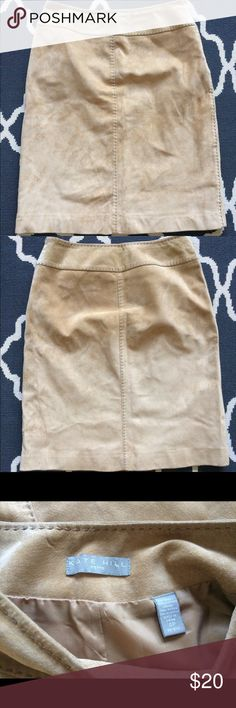 Suede Skirt Kate Hill beige / tan skirt. Size 4P. Kate Hill Skirts