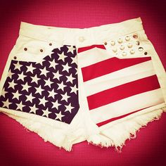 White american flag shorts L by deathdiscolovesyou on Etsy, $40.00, american flag, american flag shorts, high waisted shorts, high waist shorts, high waist, high waisted, shorts, denim shorts, jean shorts, studded shorts, destroyed shorts, cut offs, cut off shorts, studding, studs, studded, shredded shorts, vintage, fashion, style, summer, cool, vintage, party, festival, pretty