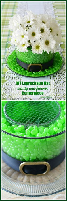 Edible and Blooming Leprechaun Hat Centerpiece DIY for St. Patrick's Day using candy and flowers | ©homeiswheretheboatis.net #StPatricksDay #centerpiece #DIY #leprechaunhat St Patrick's Day Decorations, St Patrick Decorations, Saint Patricks, St Patricks Day Food, Saint Patrick's Day, Santos, St. Patrick's Day Diy, St Patrick's Day Crafts, Holiday Crafts