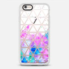 Modern pink blue hand painted watercolor white geometric triangles pattern by Girly Trend iPhone 6s case by Girly Trend   Casetify