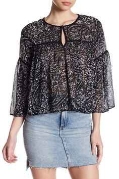 Paisley Print Bell Sleeve Top by Lucky Brand on @HauteLook