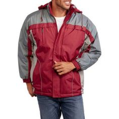 Climate Concepts Big Men's Fleece Lined Jacket with Removable Hood, Size: 2XL, Red